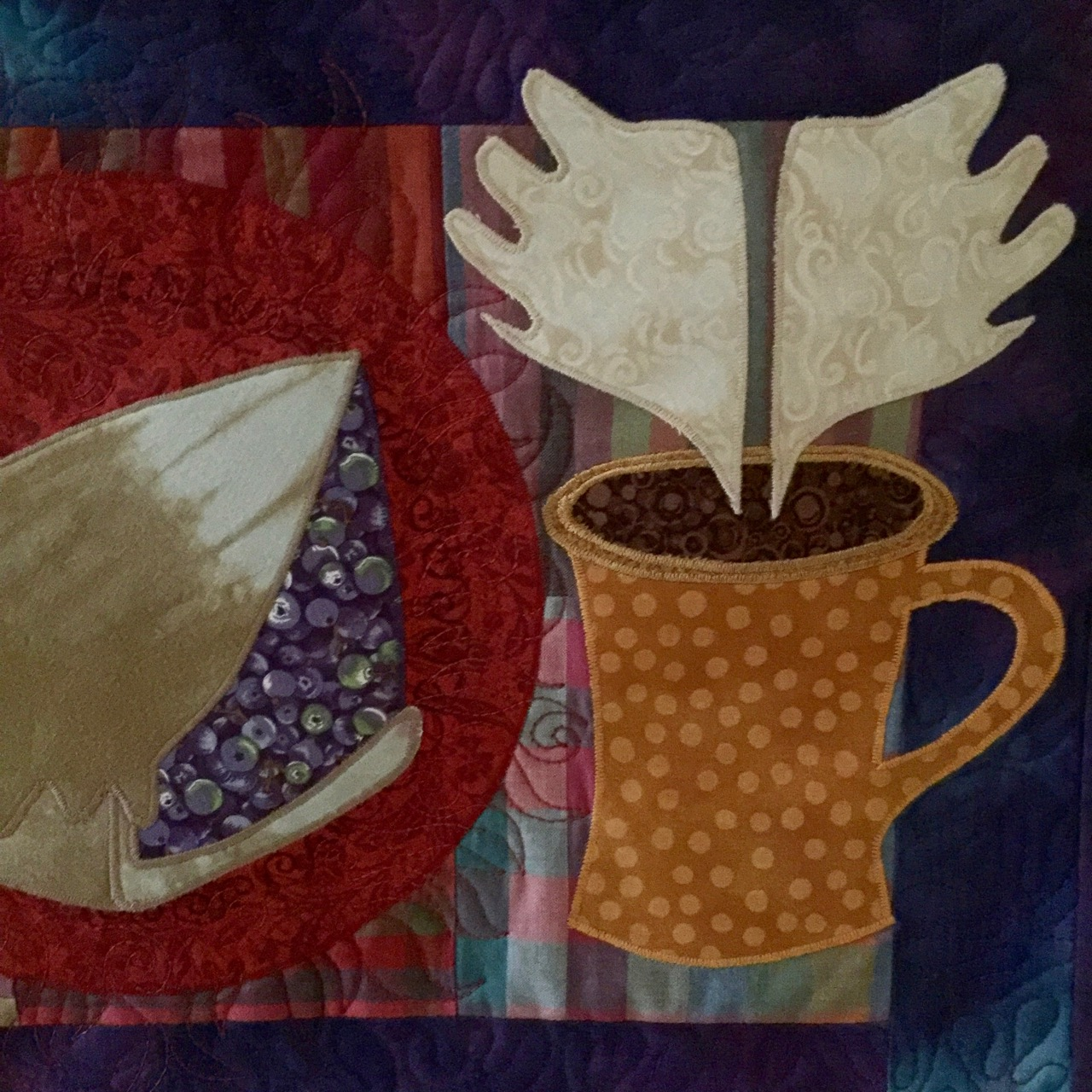 "Detail, ""Wicked Pie and Heavenly Coffee"" series of art quilts by Amy Mundinger"