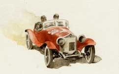 ALFA ROMEO 1750, MILLE MIGLIA, by A.Molino, 1990. Watercolour on paper, (10x12 cm). Published on Bell'Italia. 1.000 €.