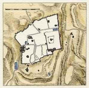 MAPPA DI GERUSALEMME AL TEMPO DELLE CROCIATE, di A.Molino. Ink on paper, 1994