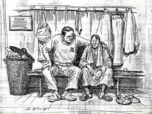 LO SPOGLIATOIO DEL GOLFISTA, di A.Molino. Ink on paper, 1999