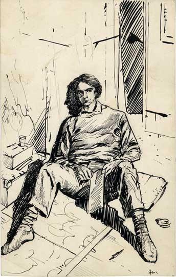 AUTORITRATTO, di A.Molino. Penna e inchiostro su carta, 1978