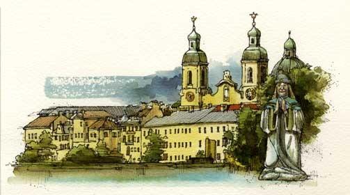 INNSBRUCK, di A.Molino. Ink on paper. Da BELL'EUROPA, 1995