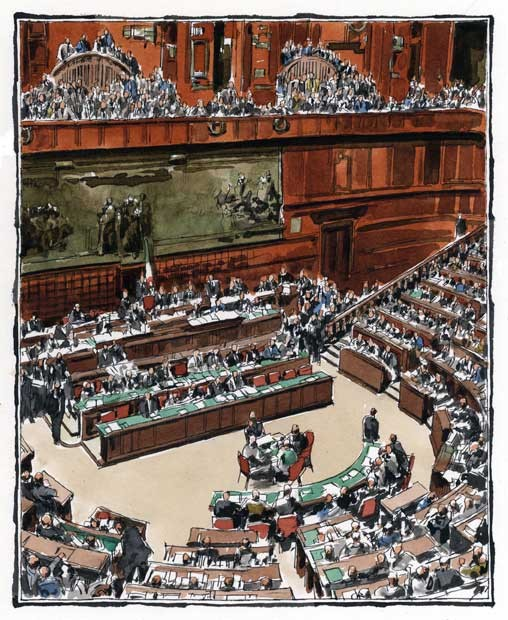 AULA DI MONTECITORIO, di A.Molino. Ink on paper, 2011