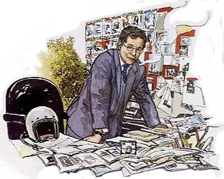 SILVESTRO SERRA, ULTIMO DIRETTORE DI GENTE VIAGGI, di A.Molino. Ink on paper. Da GV, 2006