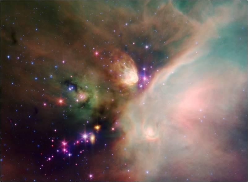 Nuevas estrellas naciendo en una neb