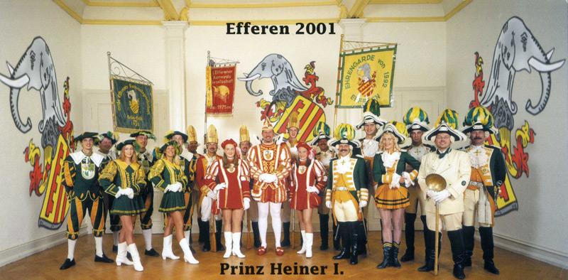 Prinz Heiner I mit Abordnungen der Efferener Karnevalsgesellschaften 1. EKG, Grün-Gold und Ehrengarde