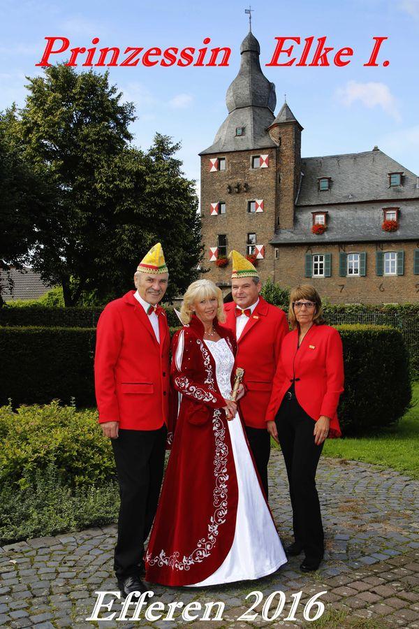 Prinzessin Elke I. mit Prinzenführer Jürgen Clasen, Adjudant Herbert Schmitz und Adjudantin Conny Mett