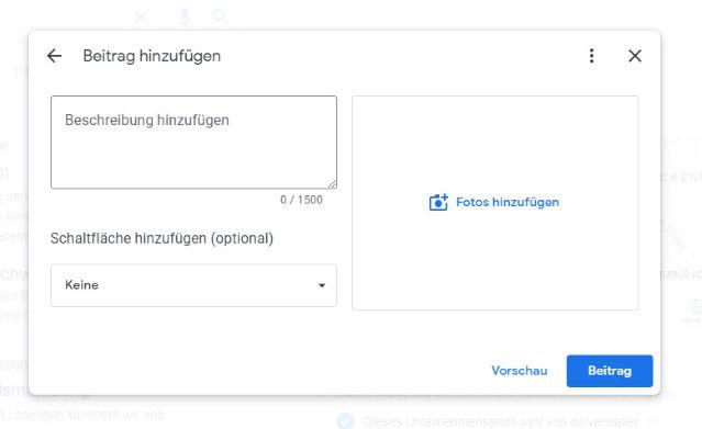 Für den Google Post gibt es eine neue Maske bzw. Ansicht berichtet Dagmar Heib Marketing für Heilpraktiker