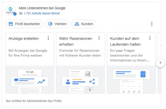 Dagmar Heib erläutert die verschiedenen Ansichten, wenn man sein Google My Business Profil aufruft