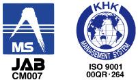 ISO9001:2008の認証。審査機関はKHK-ISOセンター。