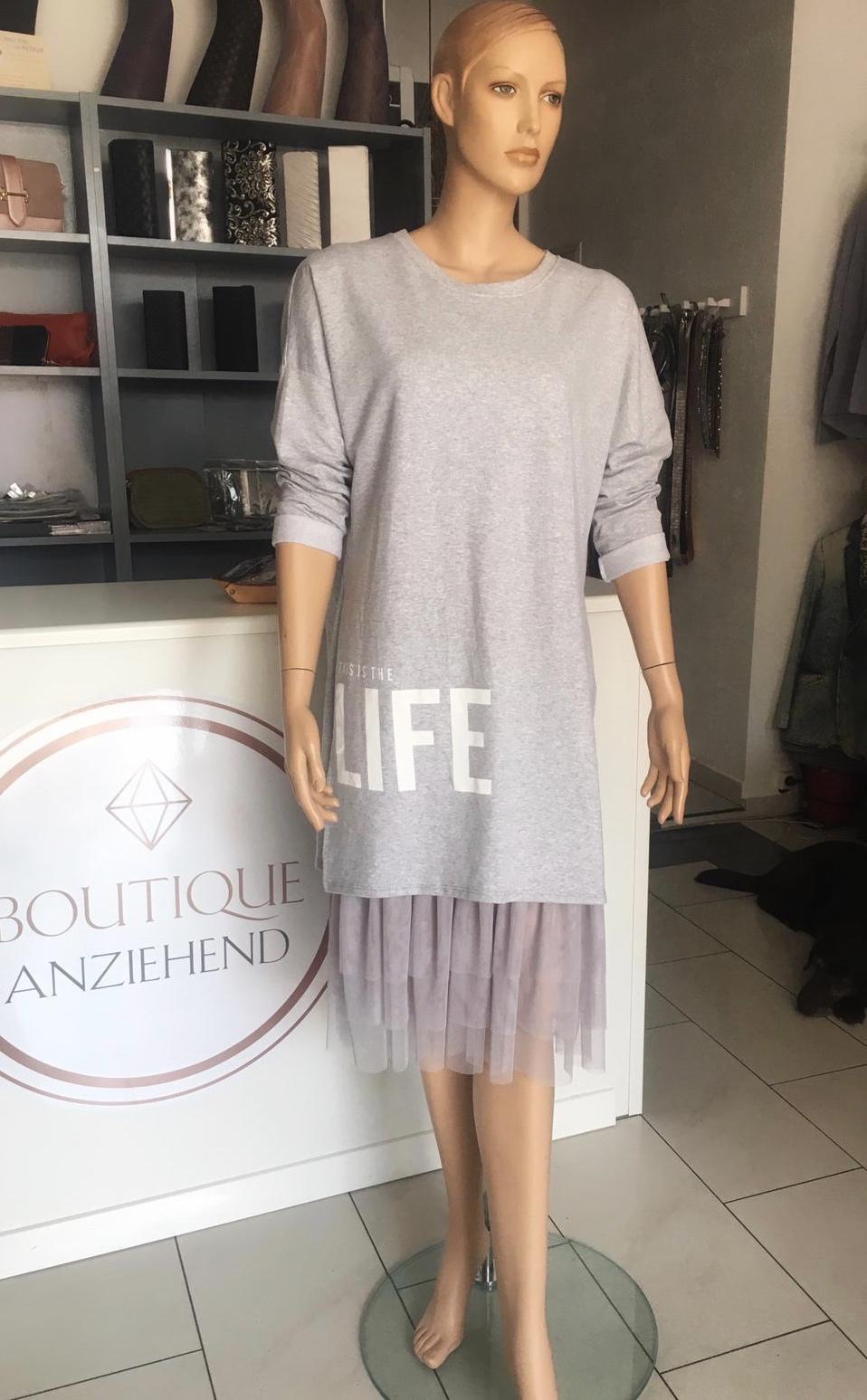 Kleid mit Tüll grau 69.90€