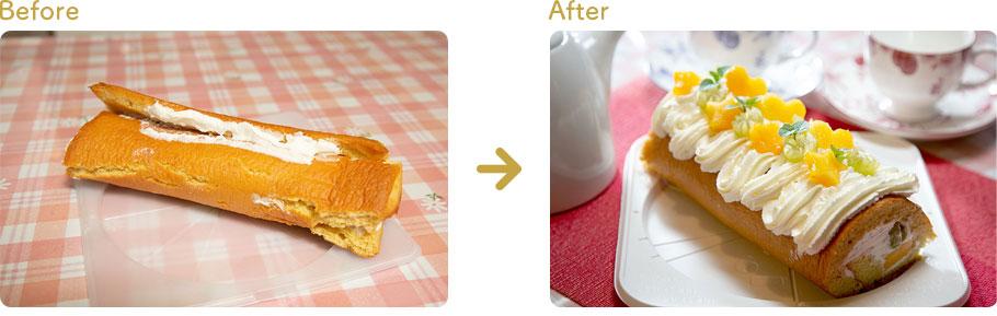 お菓子教室でのレッスン指導前と指導後のケーキ