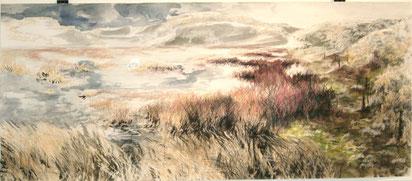 """""""Supmflandschaft"""", Ölkreide, Stifte und Aquarell auf Papier, 20 x 60 cm, 2012"""