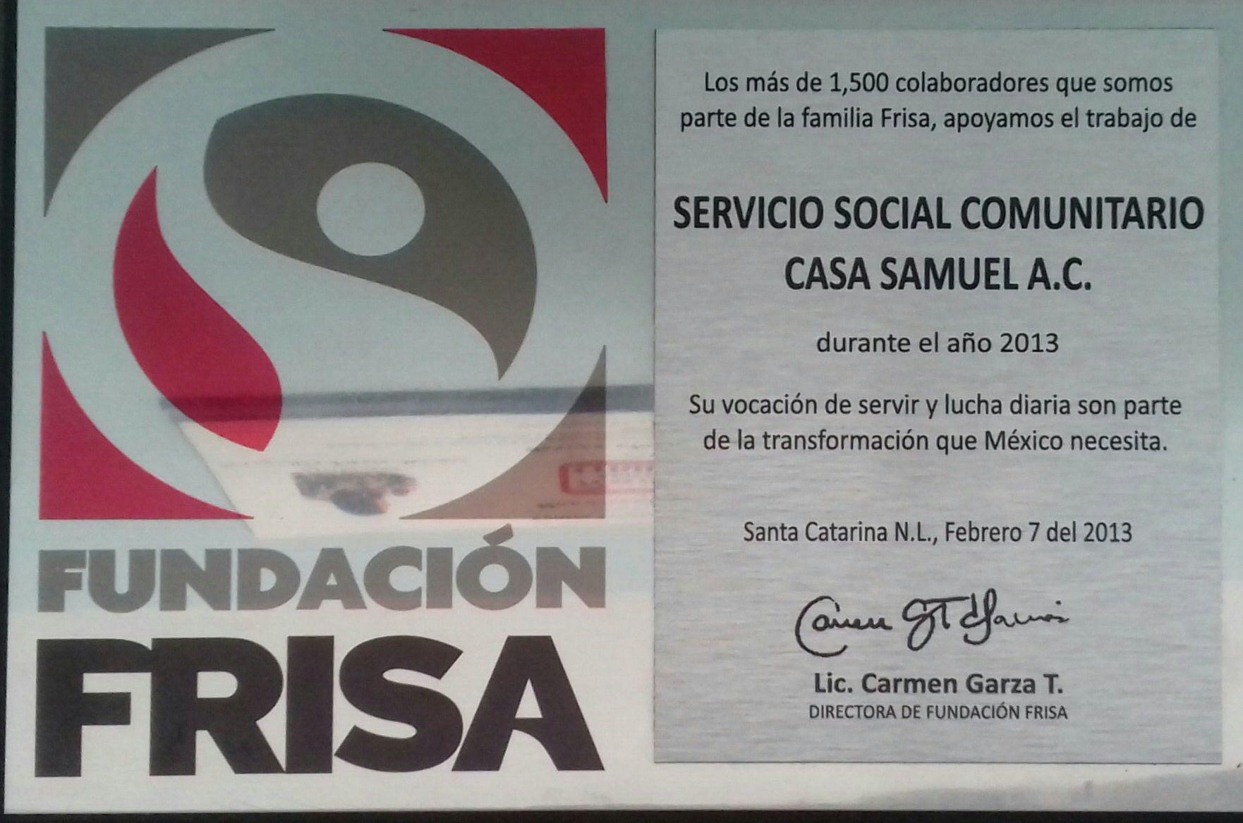 PREMIO VOCACION DE SERVIR FUNDACION FRISA 2013