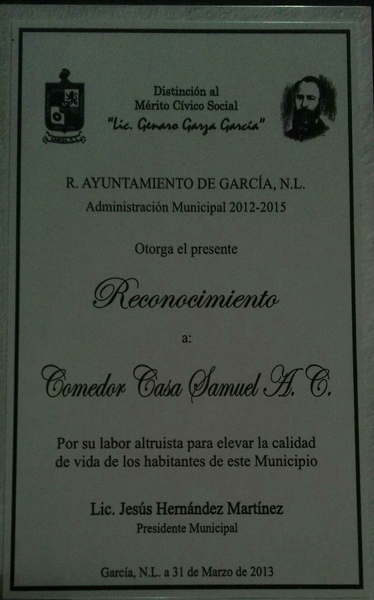 DISTINCION AL MERITO CIVICO AYUNTAMIENTO GARCIA N.L. 2013