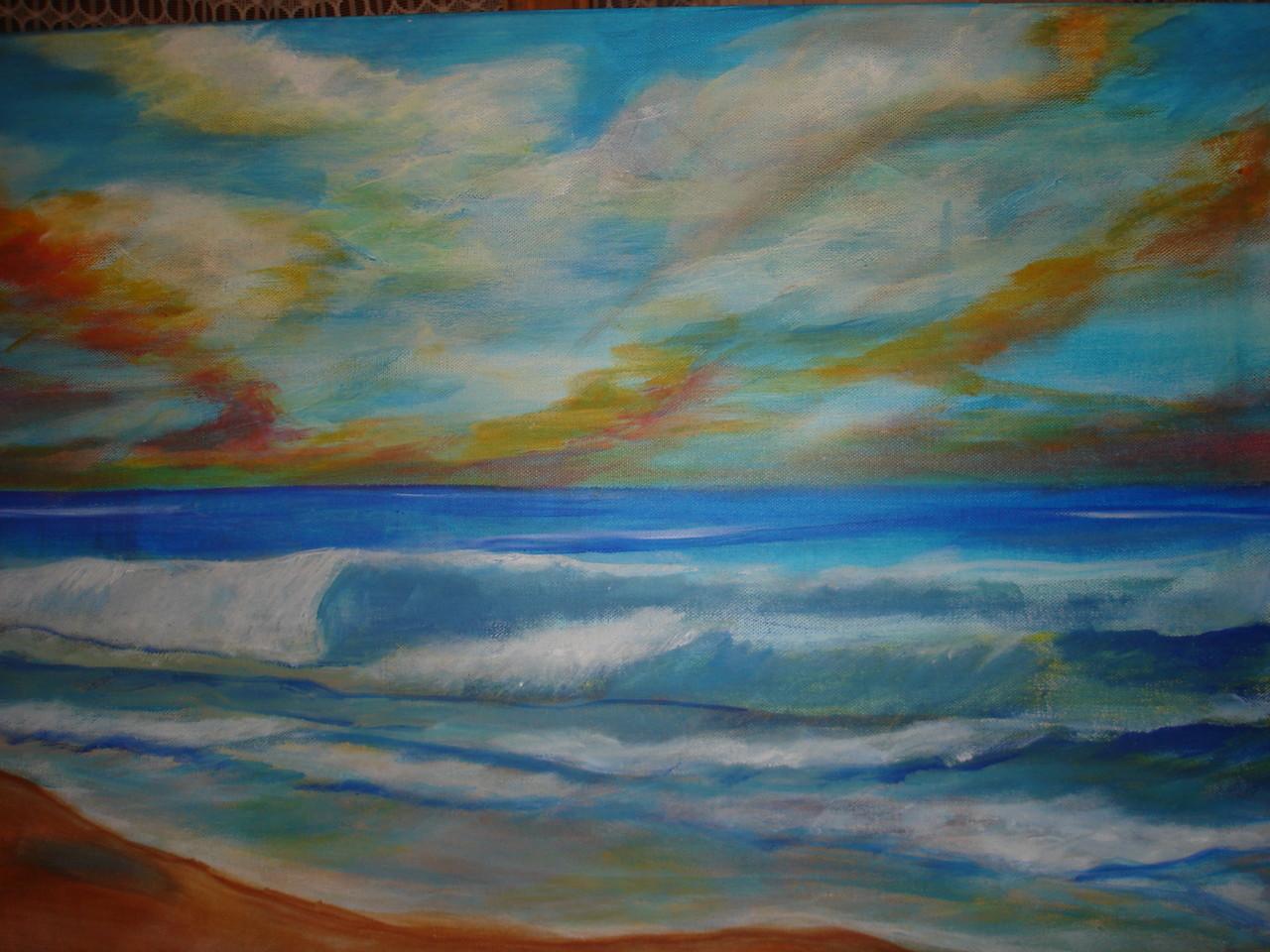 La plage Acrylique (50x70)