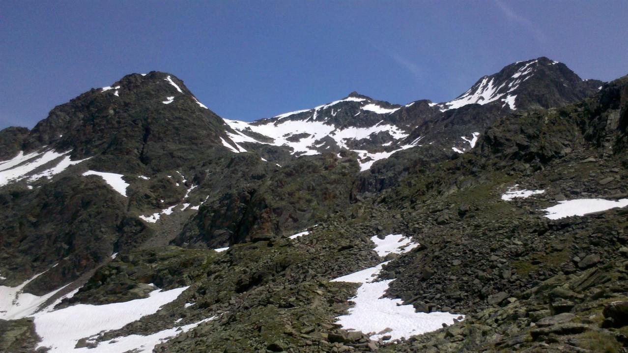 erste Blickkontakt zur Hochstubaihütte 3175m - es sind nun noch 2 Std