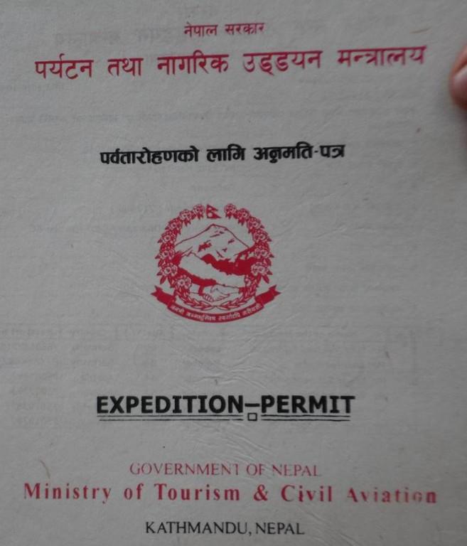 das Expeditionspermit muss vom Minister in Kathmandu ausgestellt werden.
