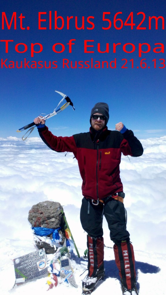 nach 11Std ist es geschafft 13Uhr Gipfel TOP Wetter am höchsten Pkt. Europas Sonne - 10 °