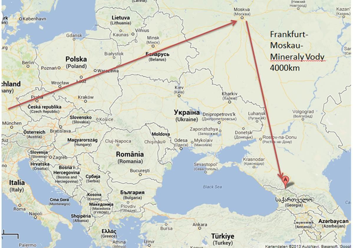 Frankfurt - Moskau - Mineraly Vody 4000km