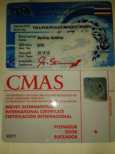 der Tauchschein 1* CMAS - quasi der Freischwimmer für Taucher :-)