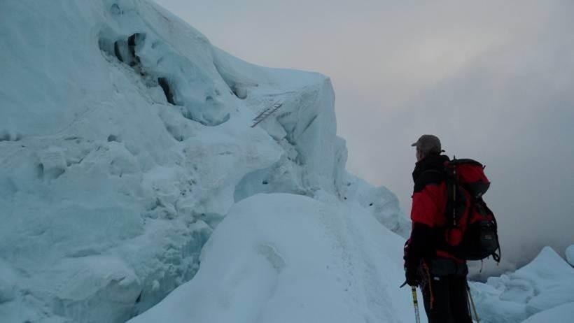 der Weissmies-Eisbruch (die Leiter ist interessant)