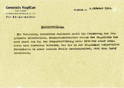 Öffentliche Bekanntmachung des Engstlatter Bürgermeisters, 1944