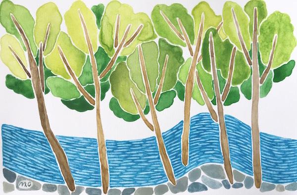 「沢の流れ」 Watercolor. 2018