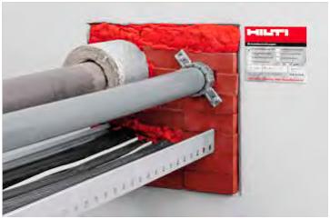 Kombination von Brandschutzsteinen mit Brandschutzschaum