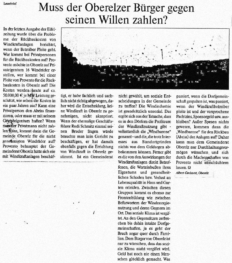 Leserbrief Eifelzeitung 2005