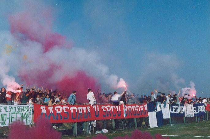 Ein Bild der Legija aus den 90er Jahren gegen Hajduk Split