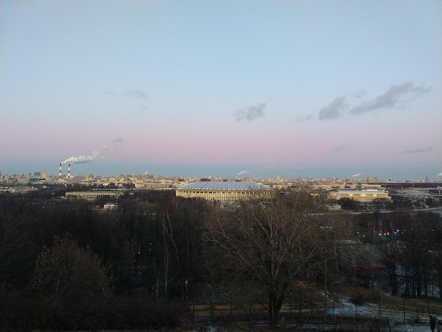 Olympiastadion Luschniki in Moskau - aufgenommen vom Sperlingsberg.
