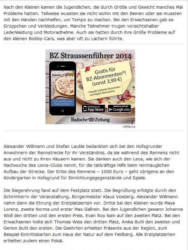 Bericht Badische Zeitung vom Dienstag 29.07.2014
