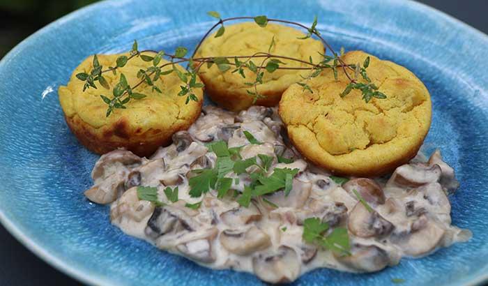 Kartoffelmuffins mit Pilzragout
