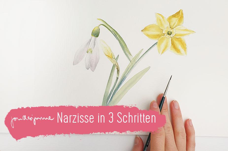 einfache Narzisse in 3 Schritten malen