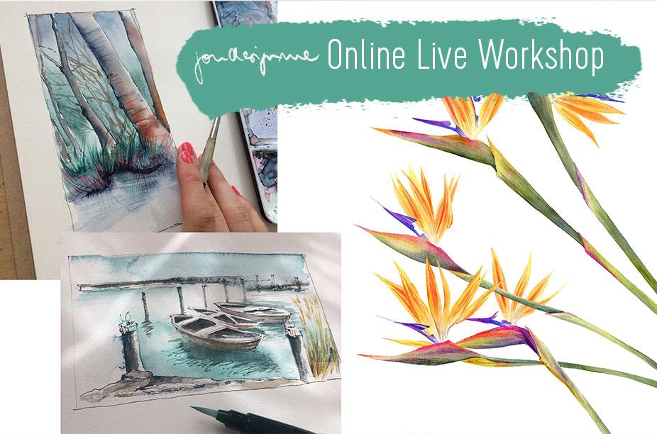 Online Live Aquarell malen lernen
