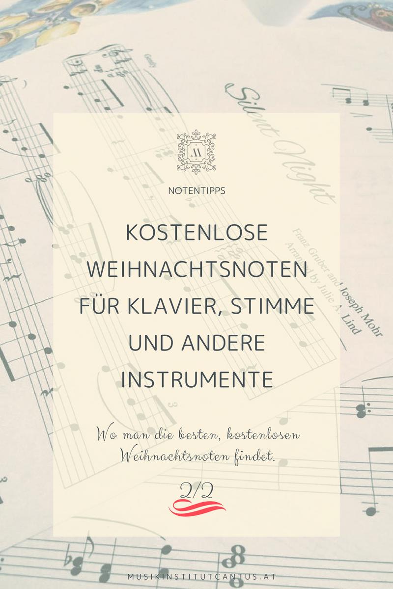 Kostenlose Weihnachtsnoten für Klavier, Stimme und andere Instrumente.Wo man die besten, kostenlosen Weihnachtsnoten findet. Klavierunterricht Wien