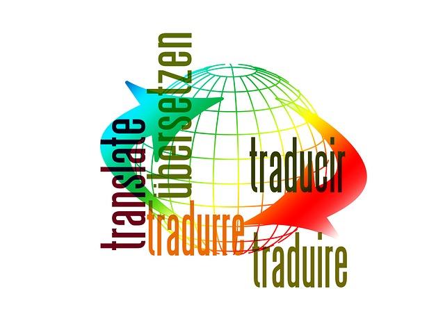 """Die Illustration zeigt als Beispiel die verschiedenen Übersetzungen des Wortes """"übersetzen"""" in translate, tradure, traducir und traduire."""