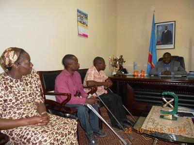 LE BUREAU DE LA LHK RECU PAR LE MINISTRE PROVINCIAL DES SPORTS AUDAXE SOMPWE DANS SON BUREAU