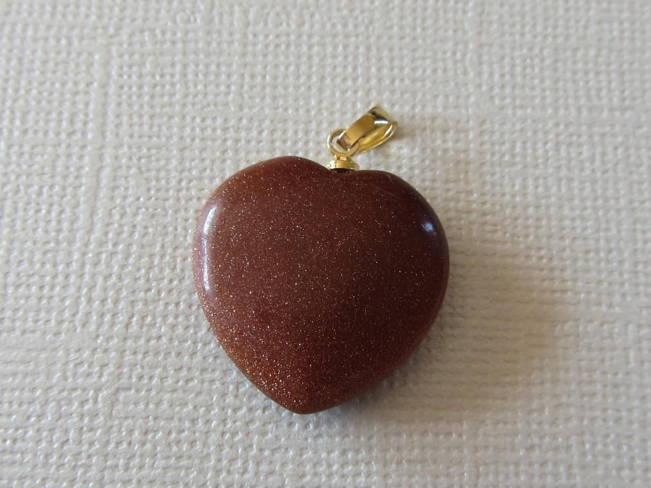 Goldfluss Herz   EDELSTEIN-ANHÄNGER  gebohrt 20mm