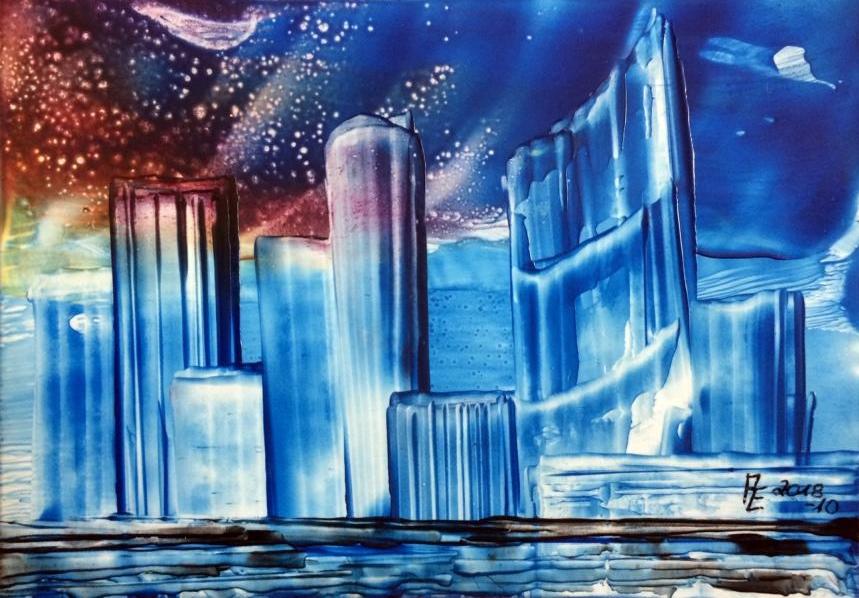 2018-10 Skyline - Encaustic auf Spezialpapier 13x18