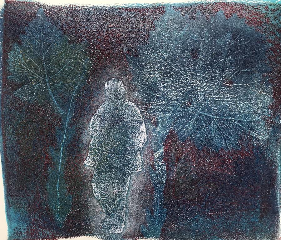 2020-06 Abend-Wald-Spaziergang - Geldruck Acryl auf Kunstdruckpapier 28x27