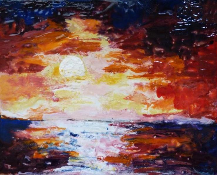 2017-02-04 Sonnenuntergang in Trans - Encaustic auf Leinwandkarton 24x30