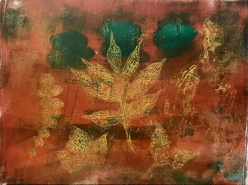 2020-09 Geldruck-Herbst I - Geldruck Acryl auf Leinwand - 40x30