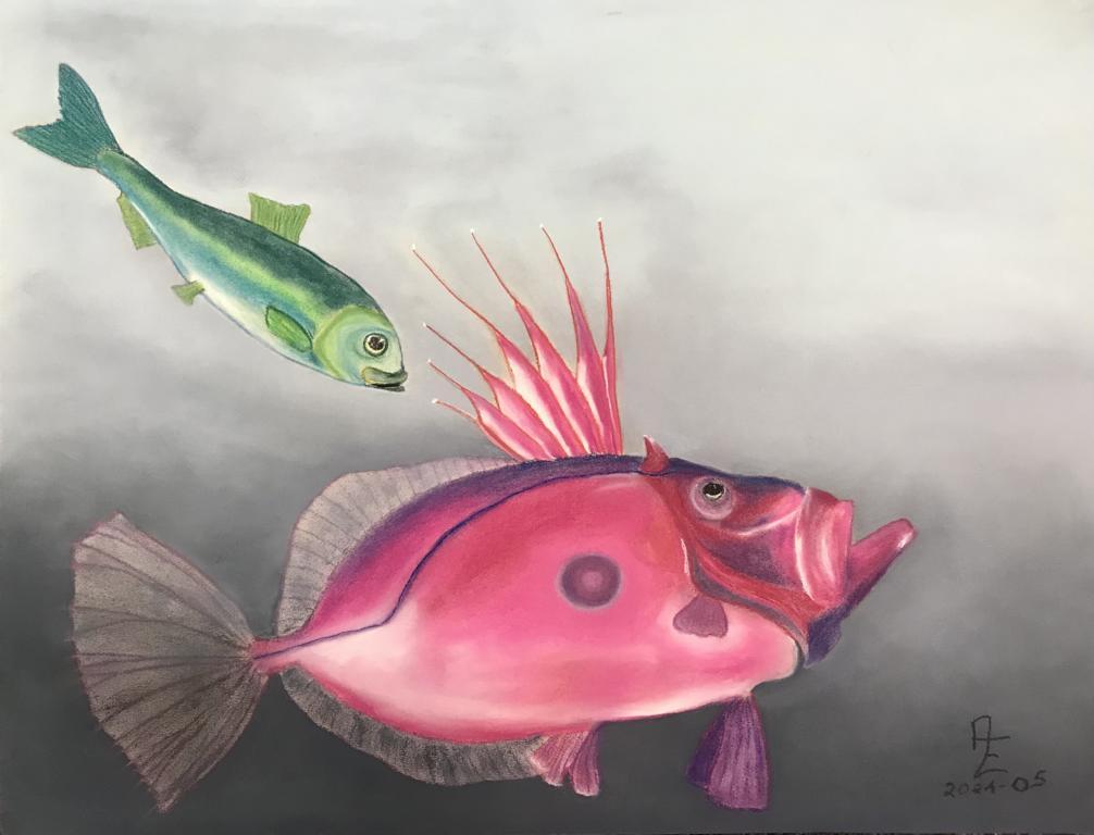 2021-05 Petersfisch mit Hering-Besuch - Pastell auf Künstlerpapier 50x65