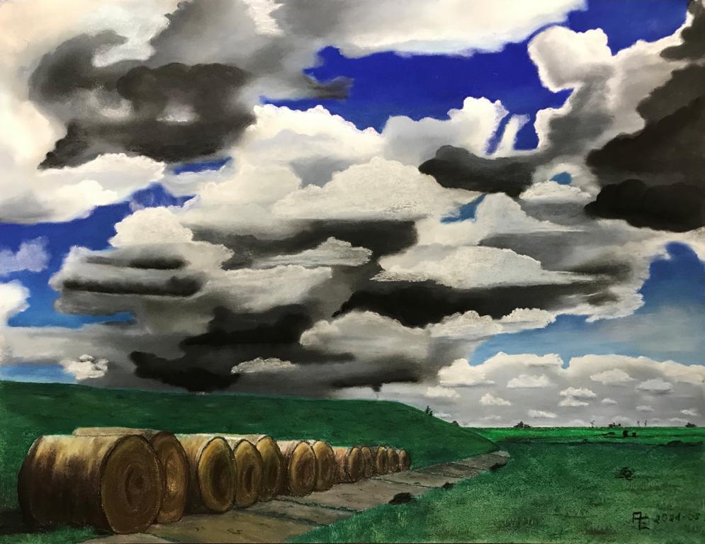 2021-05 Am Deich in Oldersum - Pastell auf Künstlerpapier 50x65