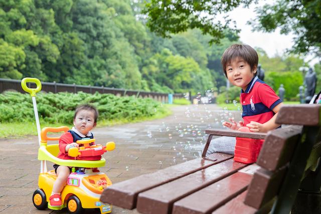 中野区 哲学堂公園 出張撮影 女性カメラマン ハーフバースデー 家族写真 成長記録