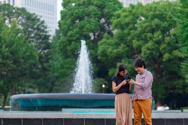 東京 日比谷公園 公園フォト 出張撮影 カップルフォト 出張カメラマン お得 家族写真