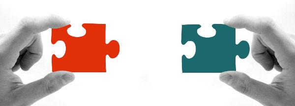 Wir bringen passendes zusammen. Bild Puzzle.