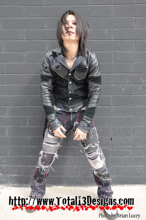 Leather Jacket + Reconstructed denim. (Custom)